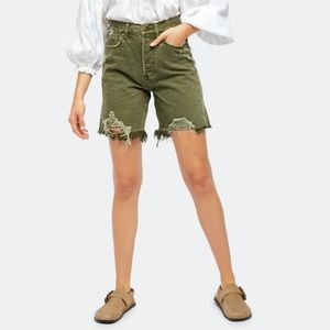 NWT Free People Sequoia Mid Length Short In Forest
